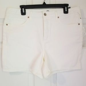 Max Studio High Rise Jean Shorts NWT 10 14 Ivory